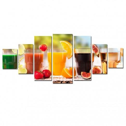 Tablou dualview 7MULTICANVAS082, 7 piese, Fresh de fructe, canvas + lemn de brad
