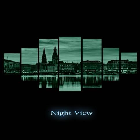 Tablou dualview 7MULTICANVAS083, 7 piese, Panorama urbana, canvas + lemn de brad