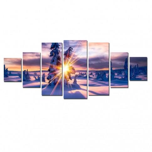 Tablou dualview 7MULTICANVAS084, 7 piese, Raze printre brazi, canvas + lemn de brad