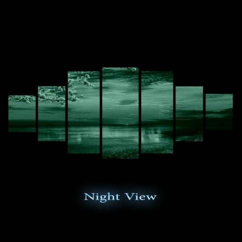 Tablou dualview 7MULTICANVAS091, 7 piese, Apus pe plaja, canvas + lemn de brad