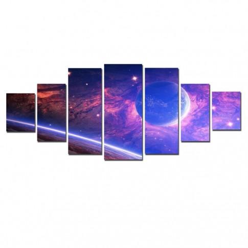 Tablou dualview 7MULTICANVAS093, 7 piese, Planeta din alta galaxie, canvas + lemn de brad