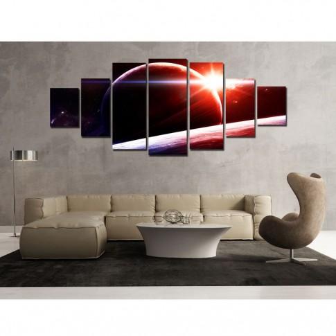 Tablou dualview 7MULTICANVAS100, 7 piese, Apus pe Saturn, canvas + lemn de brad