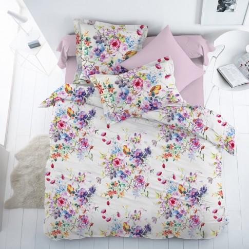 Lenjerie de pat Alice V1, 2 persoane, 100 % bumbac satinat, 4 piese, cu imprimeu