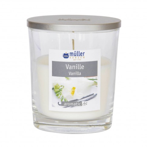 Lumanare pahar Muller, cu capac, crem, aroma vanilie, H 11 cm