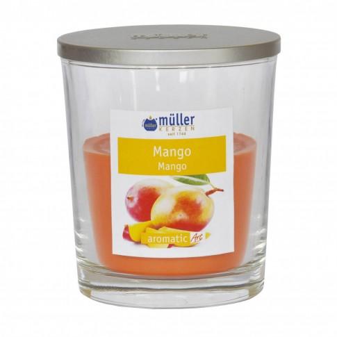 Lumanare pahar Muller, cu capac, galben, aroma mango, H 11 cm