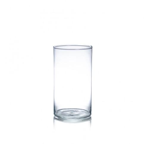 Vaza din sticla transparenta, tip cilindru, H 20 cm