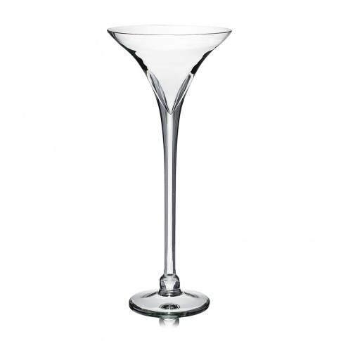 Vaza din sticla transparenta, tip pahar martini, H 40 cm