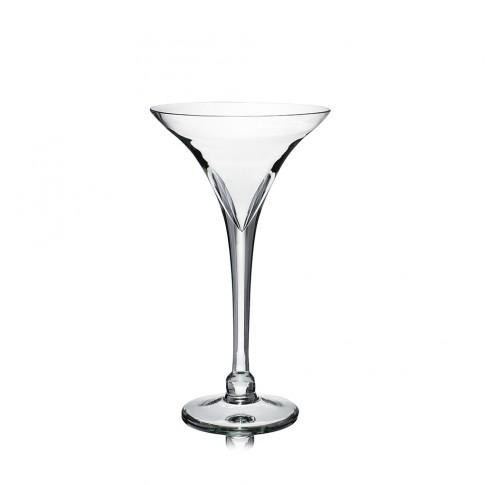 Vaza din sticla transparenta, tip pahar martini, H 30 cm