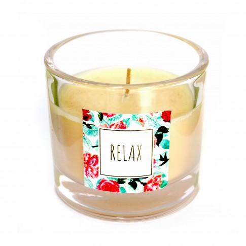 Lumanare pahar Muller Relaxtime, galben, fara aroma, H 8 cm