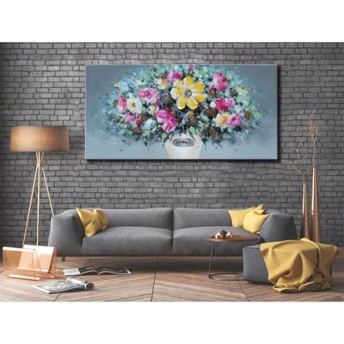 Tablou 189045-7, compozitie cu flori, canvas, 50 x 100 cm