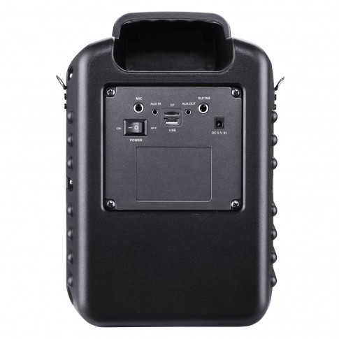 Boxa portabila activa Akai ABTS-I6, 20 W, Bluetooth, USB, TF slot, Aux in, radio FM, sistem lumini disco, functie Record, negru, microfon