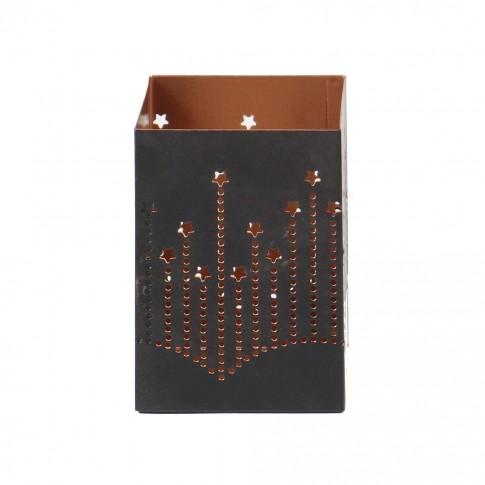 Suport lumanare metalic BS529-337, 7 x 7 x 10 cm