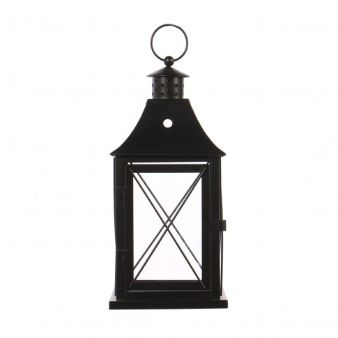 Felinar decorativ TT009-1, metal + sticla, 14 x 14 x 31cm