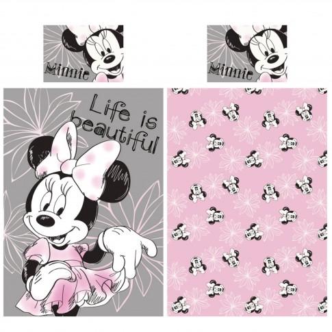 Lenjerie de pat, copii, 1 persoana, Minnie, bumbac, 2 piese, multicolor
