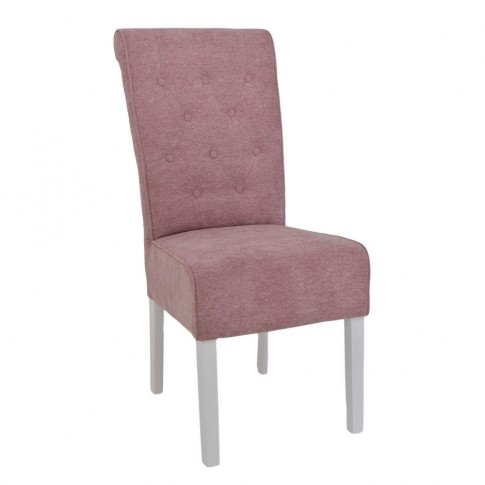 Scaun bucatarie / living fix Oslo, tapitat, lemn alb + stofa roz