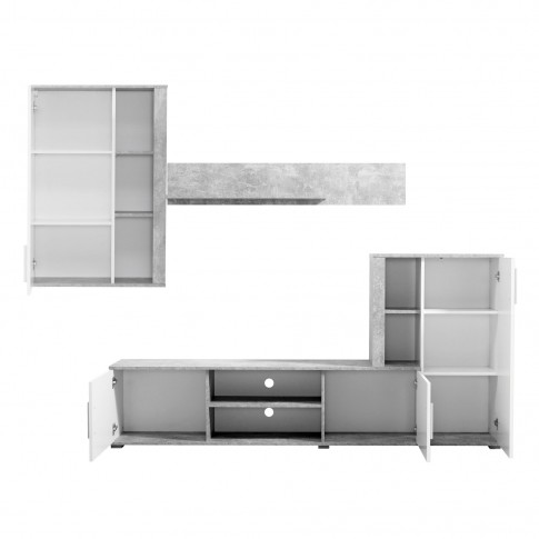 Biblioteca living Parma, beton + alb, 263 cm, 3C