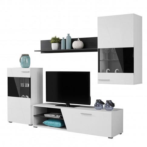 Biblioteca living Lens, alb + negru + alb lucios, 245 cm, 3C