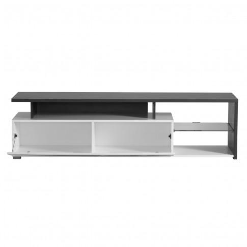 Comoda TV Arctic, alb mat + lemn negru + folie lucioasa alba, 170 x 40 x 46.5 cm, 2C