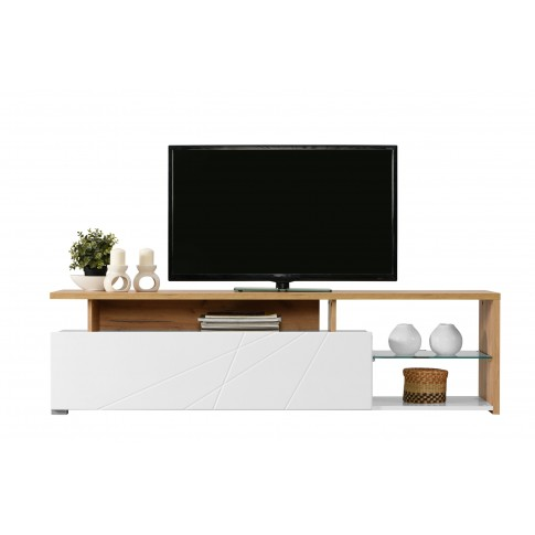 Comoda TV Arctic, alb mat + stejar auriu + folie lucioasa alba, 170 x 40 x 46.5 cm, 2C