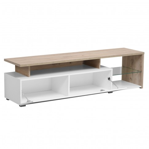 Comoda TV Corona, alb + stejar gri + alb lucios, 170 x 40 x 46.5 cm, 2C
