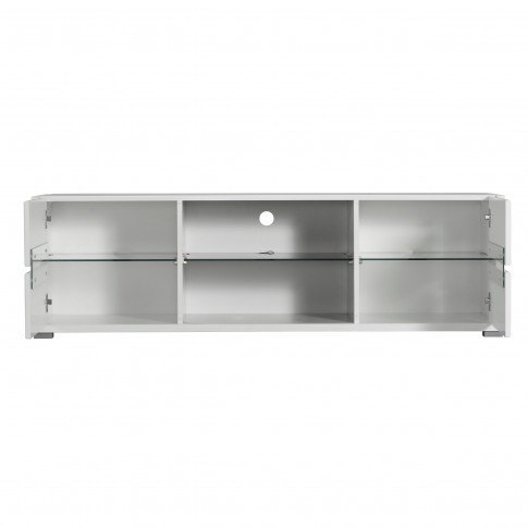 Comoda TV Celina, alb + alb lucios + sticla neagra, 153 x 40 x 46 cm, 1C