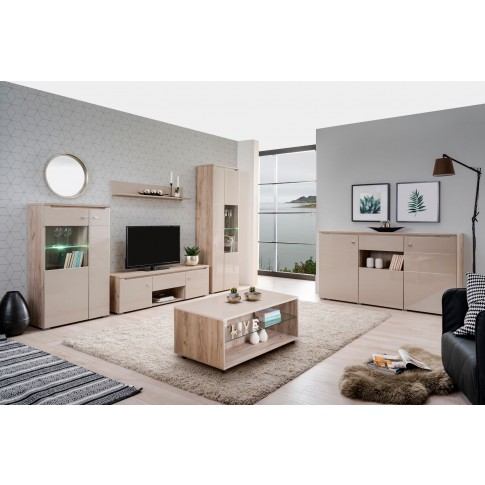 Masuta living Empoli, dreptunghiulara, stejar gri + folie lucioasa nisip, 101 x 60 x 45 cm, 1C