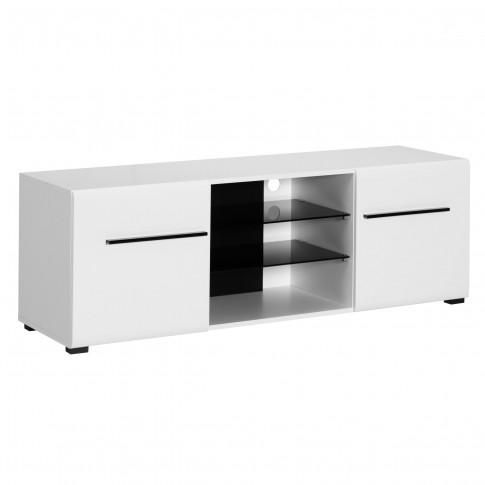 Comoda TV Trentino 150, alb mat + negru + folie lucioasa alba, 150 x 41.5 x 49.5 cm, 1C