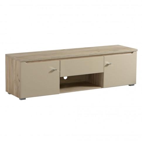 Comoda TV cu sertar Toscana 155, stejar gri + folie lucioasa nisip, 153 x 40 x 44.5 cm, 1C