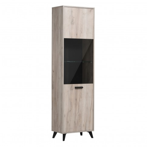 Vitrina living Umbria 1K VS, cu usa sticla, stejar gri + negru, 53.5 x 33 x 191.5 cm, 2C