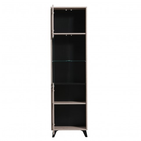Biblioteca living Umbria, stejar gri + negru, 258.5 cm, 5C