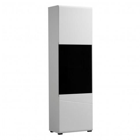 Vitrina living Trentino 1K VS, cu usa sticla, alb + negru + alb lucios, 58 x 35 x 190 cm, 2C