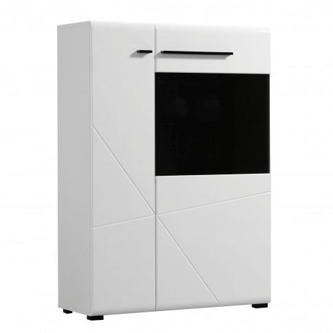 Vitrina living Trentino 2K VS1, cu usa sticla, alb + negru + alb lucios, 87.5 x 35 x 124 cm, 2C