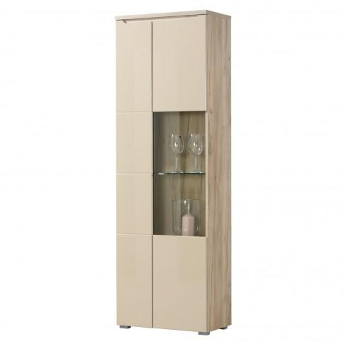 Vitrina living Toscana 2K VS1 195, cu usa sticla, stejar gri + folie lucioasa nisip, 63 x 35 x 194.5 cm, 2C