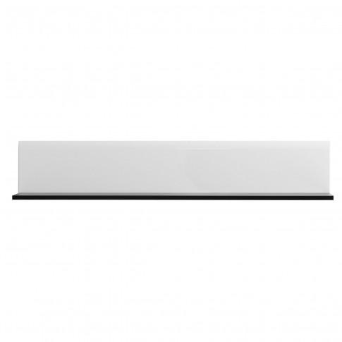 Etajera PAL, perete, Trentino ZP, negru + folie lucioasa alba, 120 x 19.5 x 22 cm, 1C