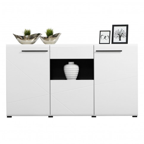 Comoda cu sertar Trentino 3K1F, alb + negru + alb lucios, 173 x 41.5 x 96.5 cm, 2C