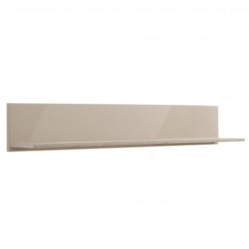Etajera PAL, perete, Toscana ZP, stejar gri + folie lucioasa nisip, 120 x 19.5 x 22 cm, 1C