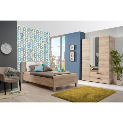 Pat dormitor Castello, o persoana, tapitat, stejar gri + bej, 120x200, 4C