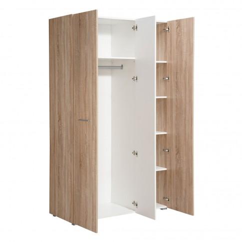 Dulap dormitor Ritmo 3K1O, stejar sonoma + alb mat, 3 usi, cu oglinda, 114.5 x 51.5 x 200 cm, 3C