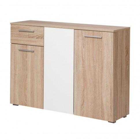 Comoda dormitor Ritmo 3K1F, cu 1 sertar, stejar sonoma + alb, 114.5 x 80.5 x 35 cm, 2C