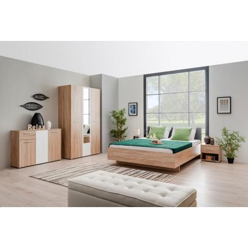 Pat dormitor Ritmo, matrimonial, tapitat, stejar sonoma + gri, 160x200, 4C