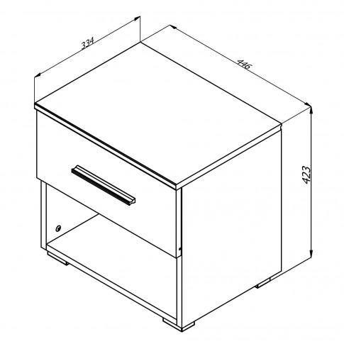 Noptiera Ritmo 2NO1F, set 2 bucati, cu 1 raft + 1 sertar, stejar sonoma, 44.5 x 42.5 x 33.5 cm, 1C