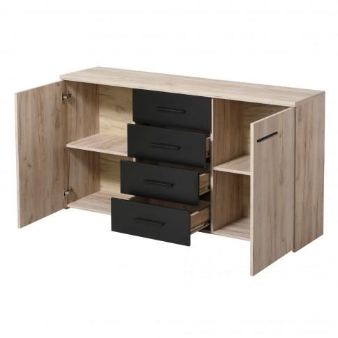 Comoda dormitor Etida 3K4F, cu 4 sertare, stejar gri + negru, 150 x 81 x 40 cm, 2C