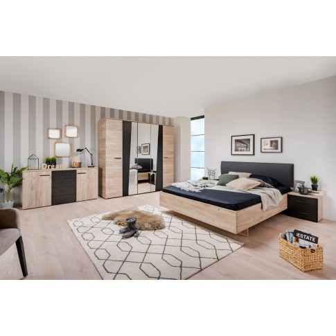 Pat dormitor Etida, matrimonial, tapitat, stejar gri + negru, 160 x 200 cm, 4C