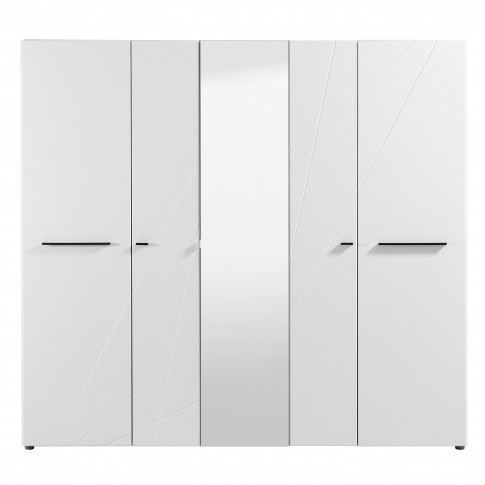 Dulap dormitor Ksanti 5K1O, alb mat + folie lucioasa alba, 5 usi, cu oglinda, 223.5 x 55 x 206 cm, 5C