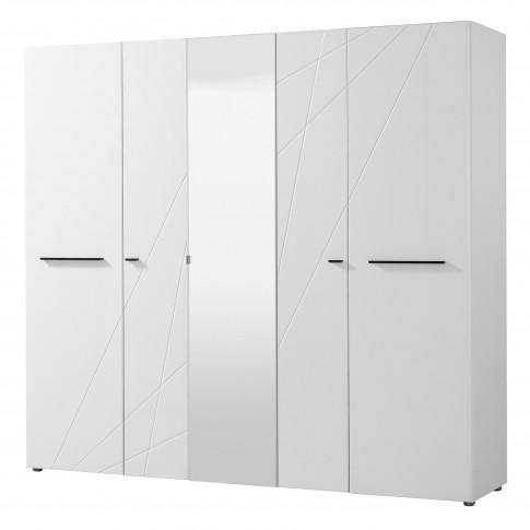 Dormitor Ksanti, pat + dulap, alb + alb lucios + gri, 8C