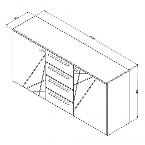Comoda dormitor Ksanti 3K4F, cu 4 sertare, alb mat + folie lucioasa alba, 163 x 80.5 x 40 cm, 2C