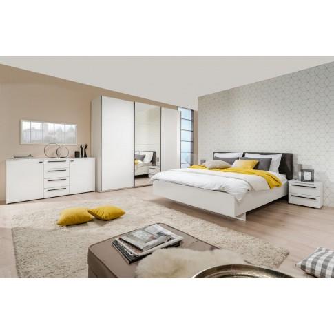 Pat dormitor Ksanti, matrimonial, tapitat, alb + gri, 160 x 200 cm, 3C