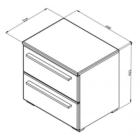 Noptiera Ksanti NO2F, cu 2 sertare, alb mat + folie lucioasa alba, 44.5 x 42.5 x 33.5 cm, 1C