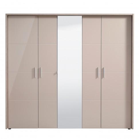 Dulap dormitor Canon 5K1O, cu rama si LED, stejar gri + folie lucioasa nisip, 5 usi, cu oglinda, 229 x 61.5 x 208.5 cm, 7C
