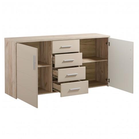 Comoda dormitor Canon 3K4F, cu 4 sertare, stejar gri + folie lucioasa nisip, 163 x 81 x 40 cm, 2C